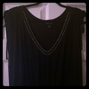 Black maxi dress, slinky and comfy